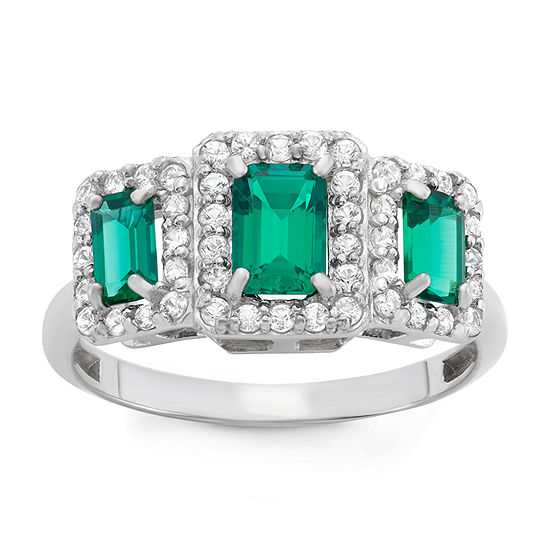 Lab Created Emerald & Lab Created White Sapphire Sterling Silver Ring