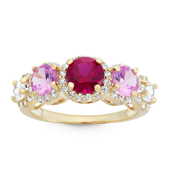 Lab Created Ruby & Lab Created Pink Sapphire 14K Gold Sterling Silver Ring