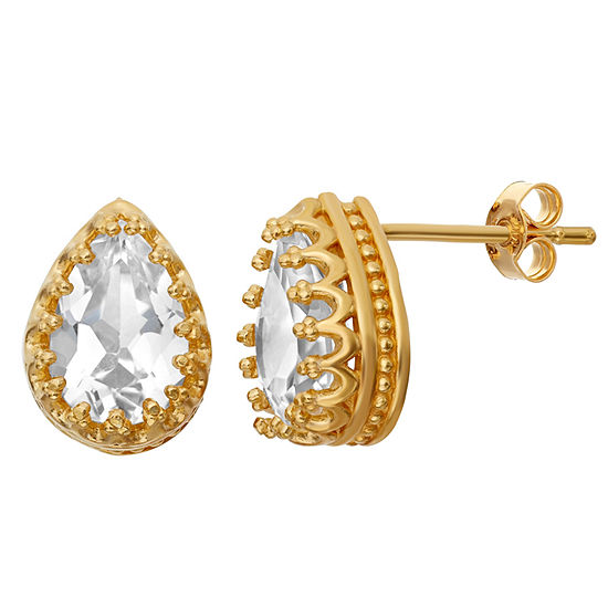 Lab-Created White Sapphire 14K Gold Over Silver Earrings