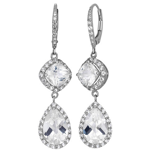 Lab-Created White Sapphire Sterling Silver Earrings