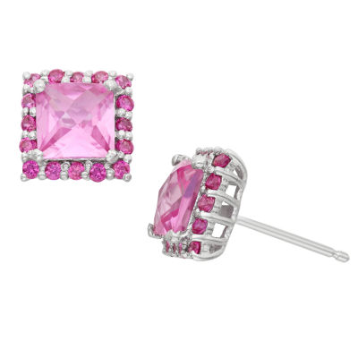 Lab Created Pink Sapphire & Lab Created White Sapphire Sterling Silver Earrings