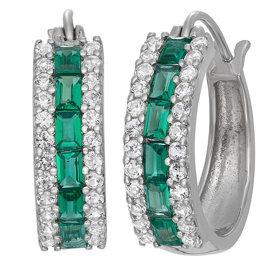 Lab Created Emerald & Lab Created White Sapphire Sterling Silver Earrings