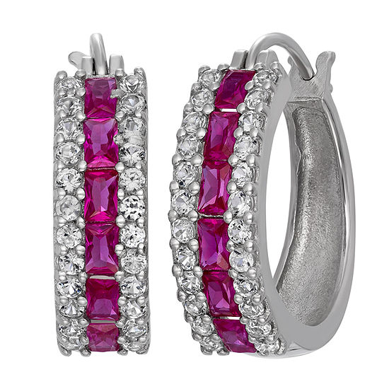 Lab Created Ruby & Lab Created White Sapphire Sterling Silver Earrings
