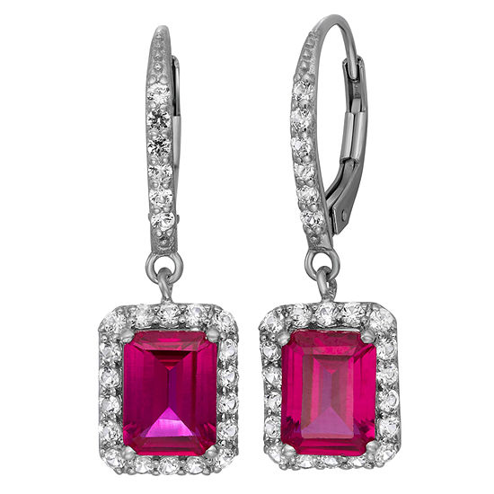 Lab Created Ruby White Sapphire Sterling Silver Earrings