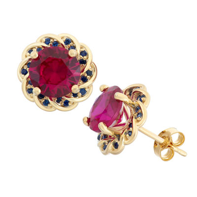 Lab-Created Ruby & Blue Sapphire 14K Gold Over Silver Earrings