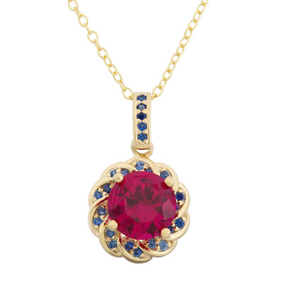 Lab Created Ruby & Lab Created Blue Sapphire 14K Gold Over Silver Pendant