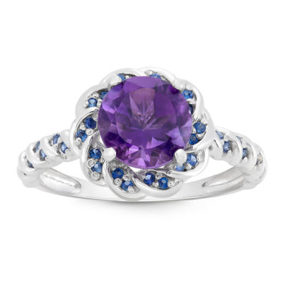 Genuine Amethyst & Lab Created Blue Sapphire Sterling Silver Ring