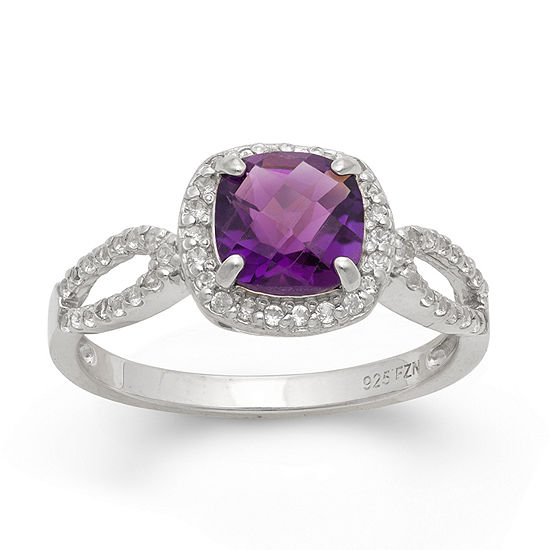 Genuine Amethyst & Lab Created White Sapphire Sterling Silver Ring