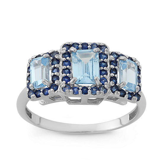 Lab Created Aquamarine & Lab Created Blue Sapphire Sterling Silver Ring