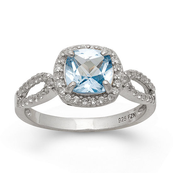 Lab Created Aquamarine & Lab Created White Sapphire Sterling Silver Ring