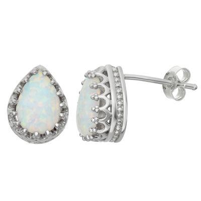 Simulated Opal Sterling Silver Earrings