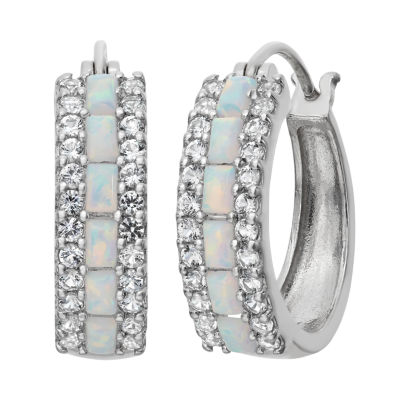 Simulated Opal & Lab-Created White Sapphire Sterling Silver Earrings