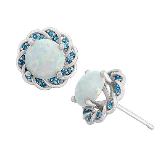 Simulated Opal & Genuine London Blue Topaz Sterling Silver Earrings