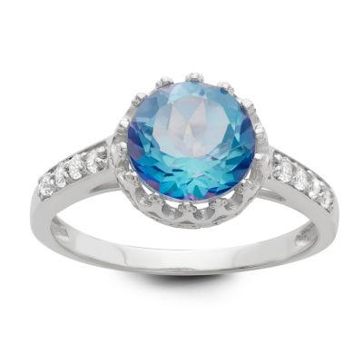 Genuine Mystic Blue Topaz Sterling Silver Ring