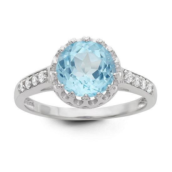 Sterling Silver Genuine Sky Blue Topaz Crown Ring
