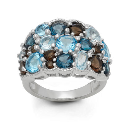 Genuine Swiss Blue Topaz, Genuine London Blue Topaz And Genuine Smoky Topaz Sterling Silver Ring