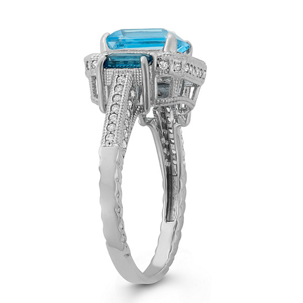 Genuine Swiss Blue Topaz & Genuine London Blue Topaz Sterling Silver Ring