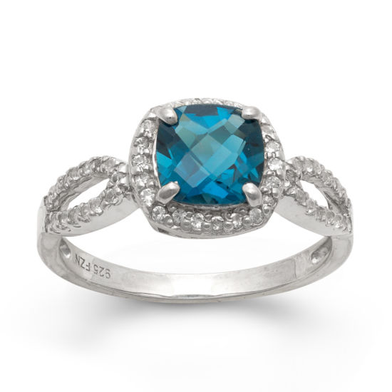 Fine Jewelry Genuine Blue Topaz and Lab-Created White Sapphire Ring