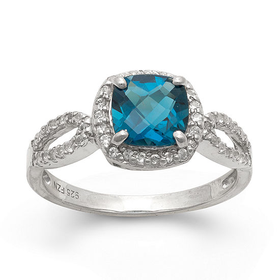 Genuine London Blue Topaz & Lab Created White Sapphire Sterling Silver Ring