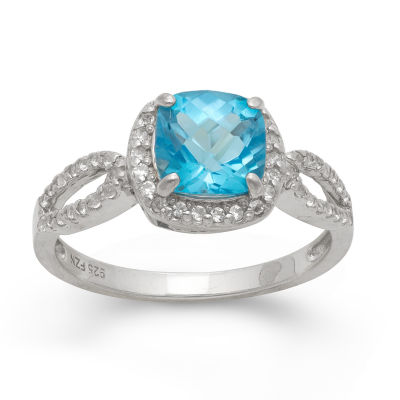 Genuine Swiss Blue Topaz & Lab Created White Sapphire Sterling Silver Ring