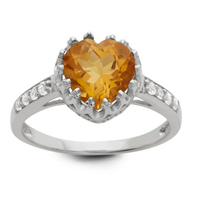 Sterling Silver Genuine Yellow Citrine Crown Ring