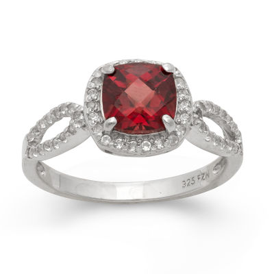 Genuine Garnet & Lab Created White Sapphire Sterling Silver Ring