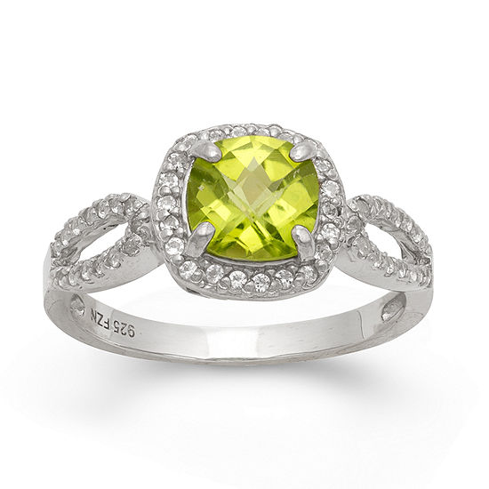 Genuine Peridot & Lab Created White Sapphire Sterling Silver Ring