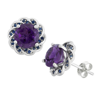 Genuine Amethyst & Lab-Created Blue Sapphire Sterling Silver Earrings