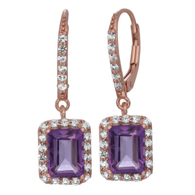 Genuine Amethyst & Lab Created-White Sapphire 14K Gold Over Silver Earrings