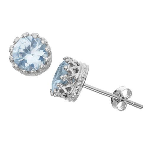 Lab Created Aquamarine Sterling Silver Earrings
