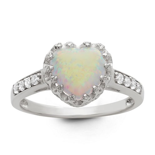 Sterling Silver Simulated White Opal Crown Ring