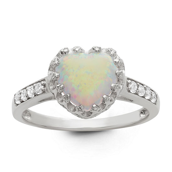 Simulated White Opal Crown Ring in Sterling Silver