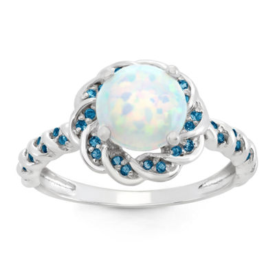 Simulated Opal & Genuine London Blue Topaz Sterling Silver Ring