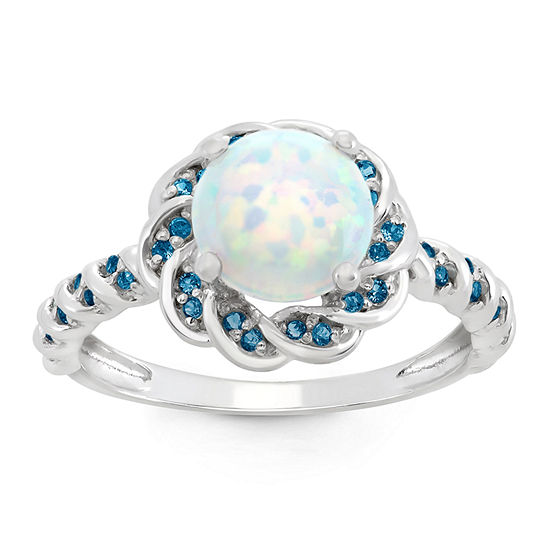Simulated Opal Genuine London Blue Topaz Sterling Silver Ring