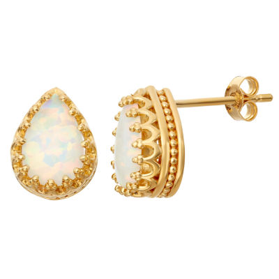 Simulated Opal 14K Gold Over Silver Earrings