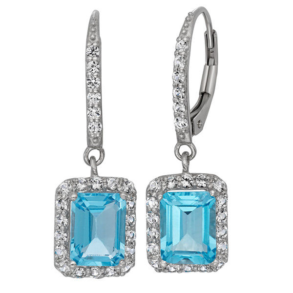 Genuine Swiss Blue Topaz & Lab-Created White Sapphire Sterling Silver Earrings