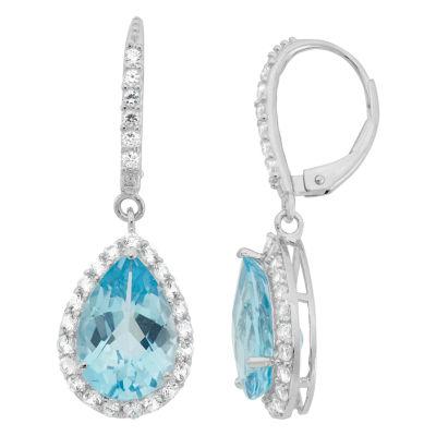 Genuine Sky Blue Topaz & Lab-Created White Sapphire Sterling Silver Earrings