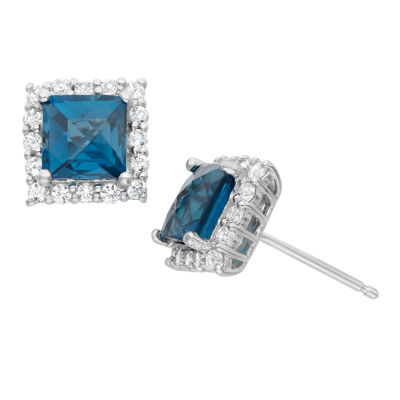 Genuine London Blue Topaz & Lab Created White Sapphire Sterling Silver Earrings