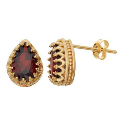 Genuine Garnet 14K Gold Over Silver Earrings
