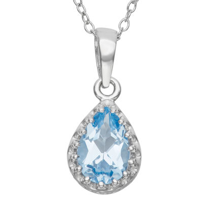 Lab-Created Aquamarine Sterling Silver Pendant Necklace