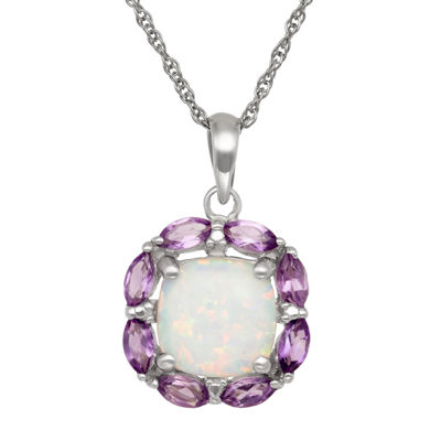 Simulated Opal & Genuine Amethyst Sterling Silver Pendant