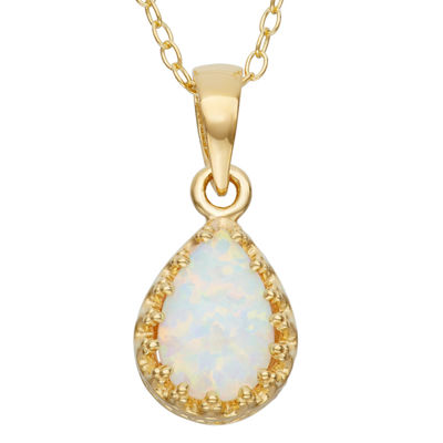 Simulated Opal 14K Gold Over Silver Pendant Necklace