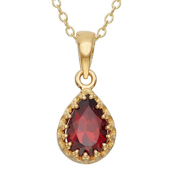 Genuine Garnet 14K Gold Over Silver Pendant Necklace