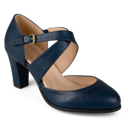 Journee Collection Womens Ainsli Pumps Buckle Open Toe Stacked Heel
