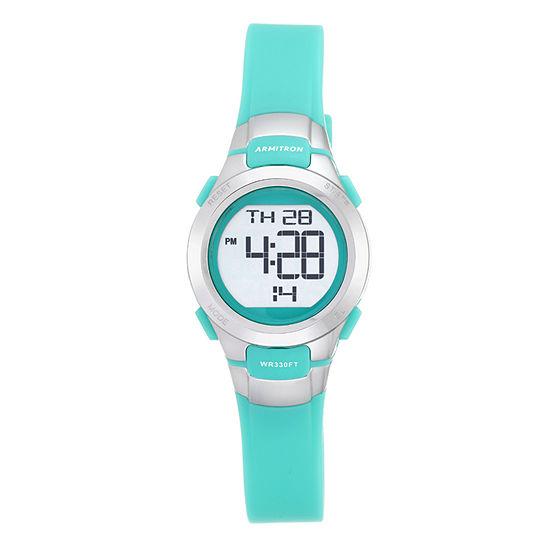 Armitron Pro Sport Womens Green Strap Watch-45/7012tel