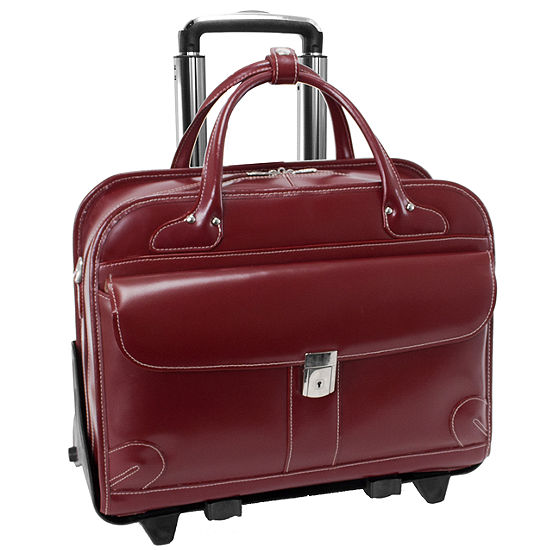 "McKleinUSA Lakewood 15.4"" Leather Fly-Through™ Checkpoint-Friendly Detachable -Wheeled Laptop Briefcase"