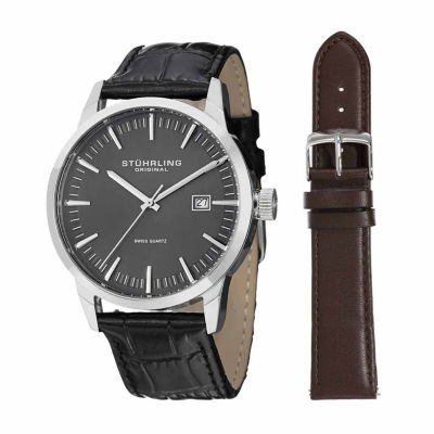 Stuhrling Mens Black Strap Watch-Sp14356
