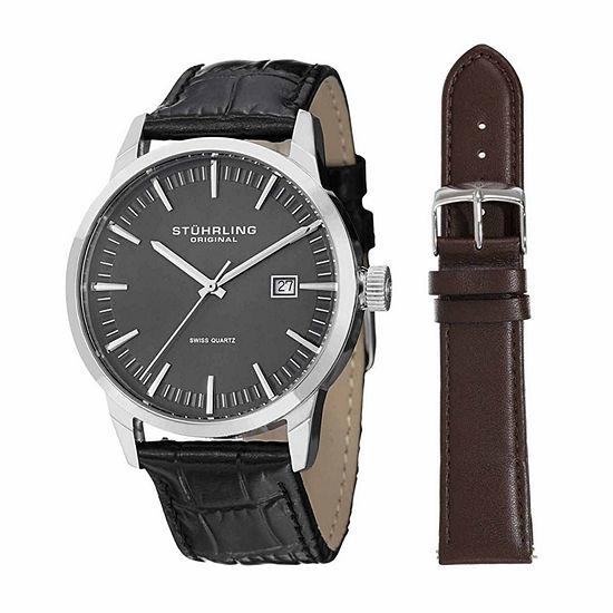 Stuhrling Mens Black Strap Watch-Sp14356