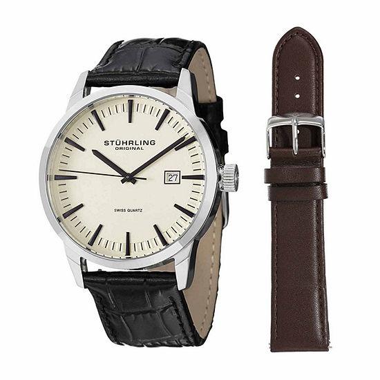 Stuhrling Mens Black Strap Watch Sp14357