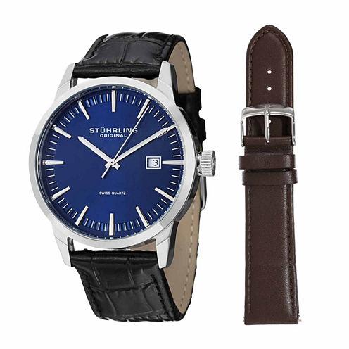 Stuhrling Mens Black Strap Watch-Sp14358